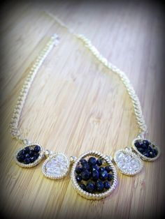 Wired Glass Bead Necklace $12 gold plated black and clear glass beads  17 inch with 3 inch ext. www.jonesburch.com