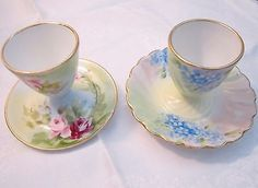 Antique Limoges France Egg Cups 2 pieces Floral Roses Forget Me Not Hand Painted