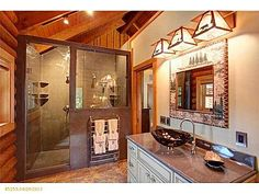beautiful interior tiled stand up shower, bathroom. Lake house. Maine decor