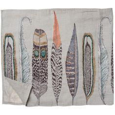 feathers on linen with linen backing table runner