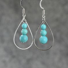 Turquoise tear drop Hoop Earrings handmade ani designs