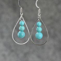 Turquoise tear drop Hoop Earrings handmade ani by AnniDesignsllc, $9.95