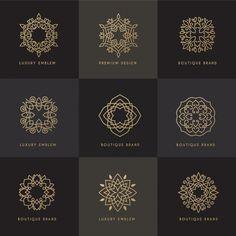 Nine golden ornamental frames Free Vector Typography Design, Branding Design, Web Design, Arabic Design, Luxury Logo, Geometric Logo, Tatoo Art, Pattern Art, Corset Pattern