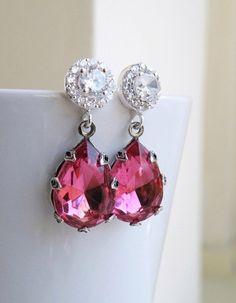 Bridal Earrings Fuchsia Rose Pink Foiled Teardrop by SomsStudio, $26.00