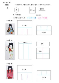 和紙のわらべ人形の材料