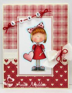 By LORi Designs Challenges  Lollipop Ella Valentine Digi Stamp ©Lori Boyd   Card Designed by: @Anita Madden