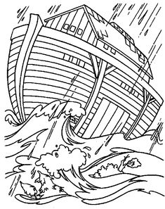 coloring page Bible Noahs Ark on Kids-n-Fun. Coloring pages of Bible Noahs Ark on Kids-n-Fun. More than coloring pages. At Kids-n-Fun you will always find the nicest coloring pages first! Bible Coloring Pages, Cool Coloring Pages, Printable Coloring Pages, Coloring Pages For Kids, Coloring Sheets, Coloring Books, Noah's Ark Bible, Bible Art, Bible Story Crafts