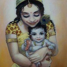 """This is so beautiful, and sweet and full of love! #Krsna #krishna #art #bhakti #harekrishna #vedic #instaart #motherhood #love"""
