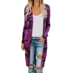 Kulywon Womens Ladies Long Cardigan Camouflage Long Sleeve Coat Outerwear Cardigan Casual, Long Cardigan Coat, Cardigan Fashion, Kimono Cardigan, Cool Sweaters, Casual Sweaters, Purple Vests, Blouse And Skirt