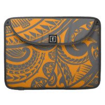 Orange and grey tribal tattoo art drawing MacBook pro sleeves