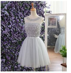 Short tulle elegant o-neck light gray appliques cheap Prom dress party homecoming dress for girls 2016 hot sale BD596