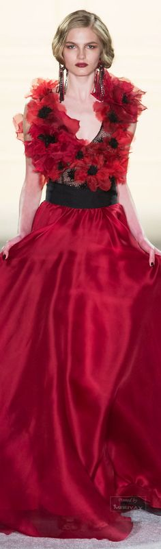 Marchesa ~ Natural Waist Red Scarlet Gown w Full Flowing Skirt + Floral Embellished Bodice 2015