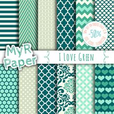 """#Green digital paper: """"I LOVE GREEN""""  pack of backgrounds and #patterns with  #chevron, polka dots, stripes, dots, damask, quatrefoil, hearts  50% OFF ON ORDERS OVER 12 $ (OR ... #design #graphic #digitalpaper #scrapbooking #green #damask #polkadots"""