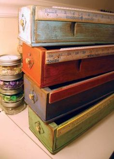 I can convert my 3 sewing machine drawers to ribbon or tape dispensers with the ruler to measure = love it!
