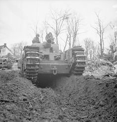 The Churchill AVRE (Armoured Vehicle Royal Engineer) was a modified Churchill tank fitted with a Petard spigot mortar, designed primarily to demolish steel and concrete structures, such as bunkers and gun emplacements. Specialised equipment could be added to the AVRE to enable it to perform other tasks.