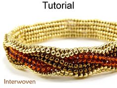 """Interwoven Herringbone Bracelet Beading Tutorial #5295 This simple beading pattern will teach you how to easily make a lovely """"Interwoven"""" tubular herringbone bracelet that lays flat! With over 70 high resolution full color photos and easy to follow step by step directions, you'll"""