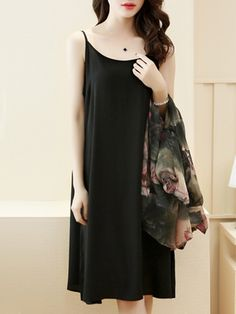 Casual Lotus Printed Chiffon Two-Piece Shift Dress Types Of Sleeves, Dresses With Sleeves, Frocks And Gowns, Dress Silhouette, Print Chiffon, Two Piece Dress, Fashion Prints, Fashion Dresses, Clothes For Women