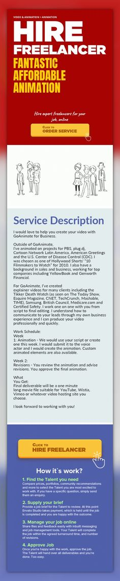 """Fantastic Affordable Animation Video & Animation, Animation   I would love to help you create your video with GoAnimate for Business.    Outside of GoAnimate, I've animated on projects for PBS, plug.dj, Cartoon Network Latin America, American Greetings and the U.S. Center of Disease Control (CDC). I was chosen as one of Hollywood Shorts' """"10 Filmmakers to Watch"""" for 2010. I also have a backg..."""