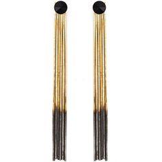 Iosselliani Black Hole Sun Earrings ($124) ❤ liked on Polyvore featuring jewelry, earrings, metallic, metallic jewelry, chains jewelry, swarovski crystal jewelry, studded jewelry and swarovski crystal earrings