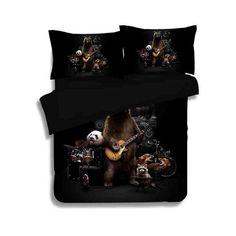 3/4pcs 3d animal panda bear music band bedding set twin full queen size duvet cover bed linen free shipping