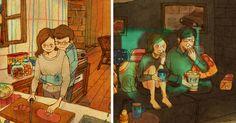 """L'artiste japonais """"Puuung"""" capture ces simples et tendres moments qui représentent l'amour au travers d'adorables illustrations. Dans une relation ces petits moments affectueux sont souvent plus importants que de grandes gestures romantiques. ils représentent le ciment …"""