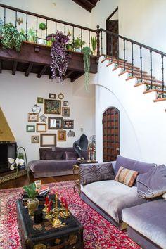 Jenn & Hunter's Historic Landmark Apartment. Lovely abode. Full of character, love the wood ceiling, the stairs and those doors! #interior #home #livingroom #interiordesign
