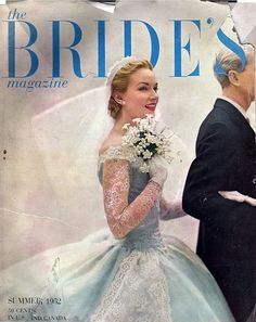 The Bride's Magazine, Summer, 1952 Vintage Wedding Photos, Vintage Bridal, Vintage Weddings, Blue Wedding Dresses, Wedding Dress Trends, Wedding Gowns, Beautiful Bride, Wedding Bride, Lace Wedding