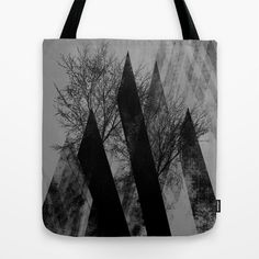 TREES V Tote Bag by Pia Schneider [atelier COLOUR-VISION] #trees #branches #geometric #art #triangles #black #collage #piaschneider #dark #abstract #collage #illustration #bag #totebag #accessoires #fashion #shoppingbag #beachbag #stylish