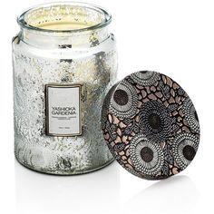 Voluspa Japonica Limited Edition Large Glass Candle - Yashioka... ($44) ❤ liked on Polyvore featuring home, home decor, candles & candleholders, grey, glass candle, floral scented candles, scented candles, floral home decor and glass home decor