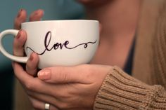 So pretty. Once I get the house done I definitely want a set of these. Calligraphy Coffee Mug by DesignGlorious on Etsy