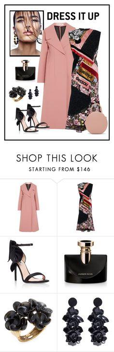 """Mary Katrantzou Bayer Printed Dress Look"" by romaboots-1 ❤ liked on Polyvore featuring Marni, Oskar the Label, MSGM, Bulgari, Oscar de la Renta and Mansur Gavriel"