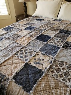The post Colonial Blues Large Rag Quilt Throw. 2019 appeared first on Quilt Decor. Colchas Quilting, Crazy Quilting, Quilting Ideas, Shabby Chic Quilts, Rag Quilt Patterns, Flannel Quilts, Homemade Quilts, Easy Quilts, How To Make Quilts