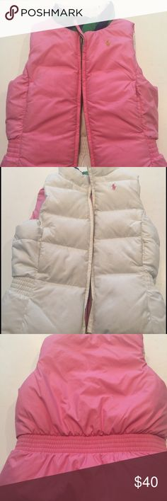 RALPH LAUREN GIRLS DOWN VEST Reversible Ralph Lauren girls/kids down best. Reverses from pink to off white so you get two looks in one. Ralph Lauren on collar on both sides with green ribbon stripes. Adorable. Not sure of the size as its not in the vest but I believe it was a 6. Excellent condition. Ralph Lauren Jackets & Coats Vests
