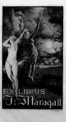"""Alexandre de Riquer (1856 -1920). """"Ex-libris J. Maragal, 1911"""". Aiguafort. 17.5 x 10.5 cm."""