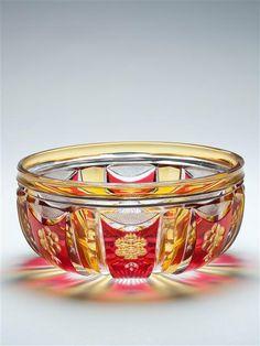 AN ART DECO VAL ST LAMBERT CRYSTAL GLASS BOWL