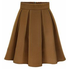 Elegant Women High Waist Pleated Solid Knee Length Skirt ($38) ❤ liked on Polyvore featuring skirts