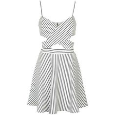 In Love - Black and White Striped Cut Out Skater Dress by Wyldr ($22) ❤ liked on Polyvore featuring dresses, striped dress, skater dress, cut-out dresses, stripe dresses and cutout dresses