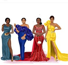 Inspirations for engagement dresses for that Nigerian Traditional Slay Weddings. Favorite piece goes to the red whats your favorite piece? African Print Fashion, Africa Fashion, Black Girl Art, Black Girl Magic, Nigerian Culture, Wedding Dress Sketches, Fashion Illustration Dresses, Fashion Design Sketches, Glamour