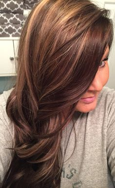 Love my hair! Dark Golden brown with honey blonde highlights