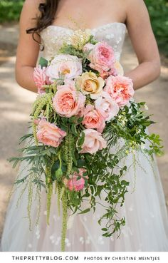 assymetrical soft pink & green cascading bouquet | Flowers: Paradiso, Photo: Christine Meintjes Onto Bridal Bouquets.