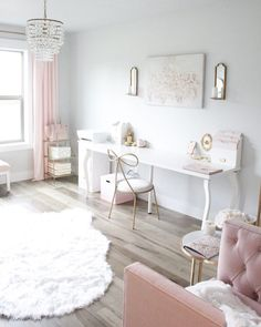 Blush And Gold Glam Office Reveal – Summer Adams – Chic Home Office Design Home Office Space, Home Office Design, Home Office Decor, Home Design, Home Decor, Office Ideas, Small Office, Design Ideas, Office Designs