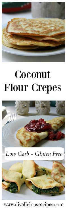 Delicious coconut flour crepes that make a great quick supper or dessert dish. They can be filled or eaten simply with a dash of lemon over them.