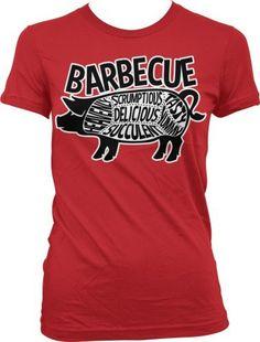 Barbecue Pig Parts Ladies Junior Fit T-shirt, Tasty, Yummy, Delicious, Heavenly, Succulent, Scrumptious, Parts of Pig BBQ Design Junior's Tee, http://www.amazon.com/dp/B00CMTWD98/ref=cm_sw_r_pi_awdm_aUJiub10S020E