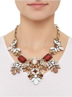 Crystal flower necklace Multi-colour 224