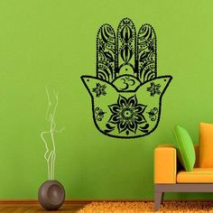 Indian Hamsa Hand Lotus Stickers Mandala Om Oum Sign Design Home Vinyl Decal Sticker Sticker Decal size 33x45 Color