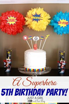 (Love the Pom Pom idea )Awesome Superhero birthday party! So many great ideas! Spider Man Party, Fête Spider Man, 4th Birthday Parties, Birthday Fun, Birthday Ideas, Cake Birthday, Anniversaire Wonder Woman, Girl Superhero Party, Batman Party
