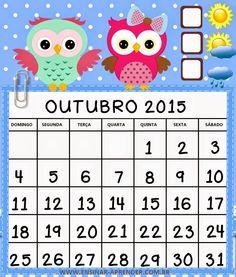 """CALENDÁRIO 2015 CORUJINHAS COLORIDO - MUITO FOFO ~ """" Cantinho do Educador Infantil """""""