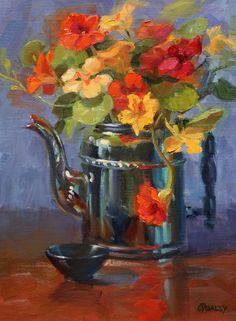 "Sara Qualey Paintings: ""Nasturtiums in Teapot"""