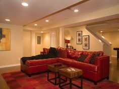 Home Design:Awesome Basement Ideas for Your Home: Modern Interior Decorating Ideas Basement Living Room With Red Sofa With Chaise Lounge And Cushion And Red Rug And Table ~minnesotaplaybook.org Inspiration