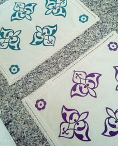 35x45cm Purple Hand Block Printed Cream Placemat Ottoman and Floral Prints Authentic Traditional Handcrafted Turkish Lace Trimmed by JIJIMA on Etsy